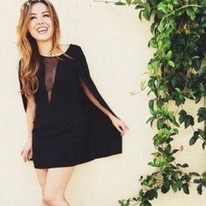 NWT💫 Faith in Love Solid deep V cape mini dress